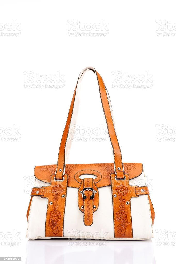 Leather female bag on a white background royalty-free stock photo