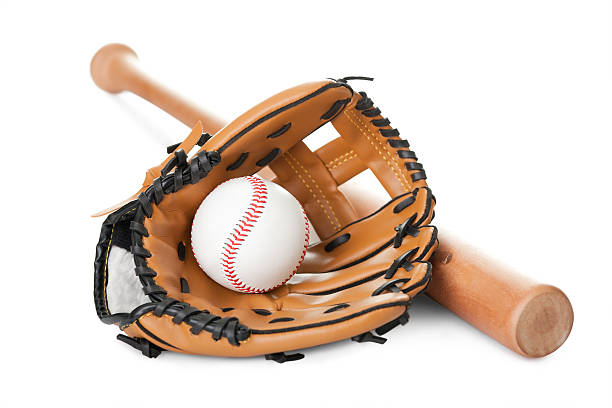 Leather glove with baseball and bat on white stock photo