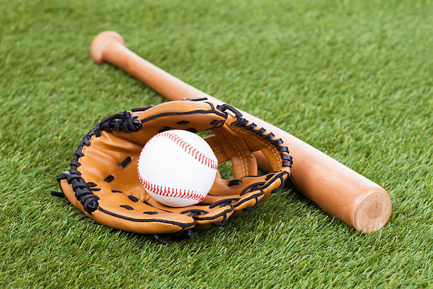 Leather Glove With Baseball And Bat stock photo