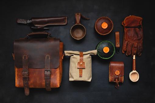 leather handmade bag and traveler equipment