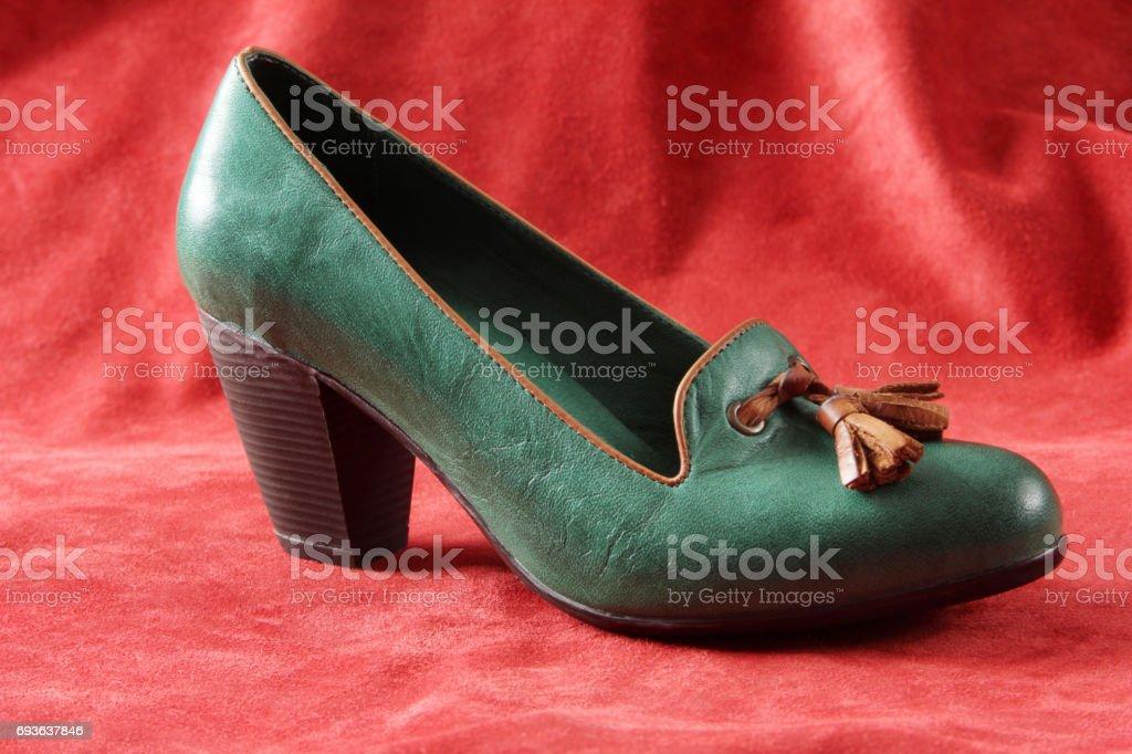 leather high heel shoe stock photo