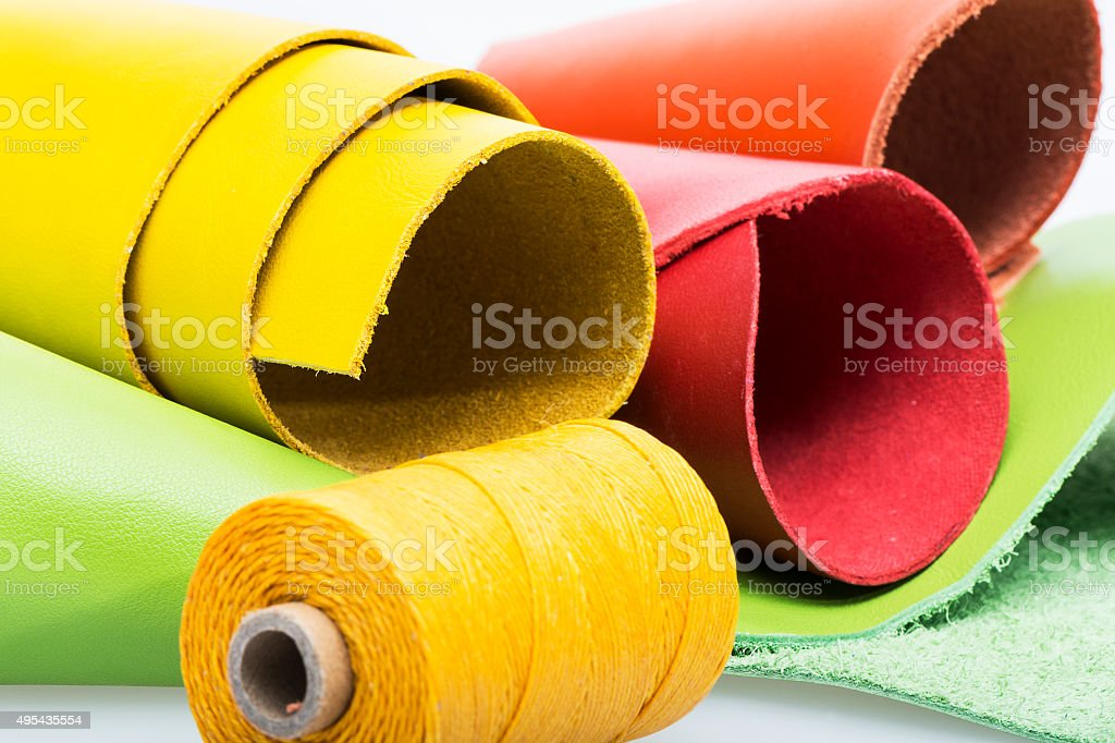 Leather In Red Orange Yellow And Green Stock Photo More Pictures