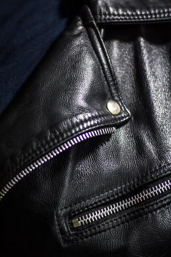 672414164 istock photo leather jacket close up 871414290