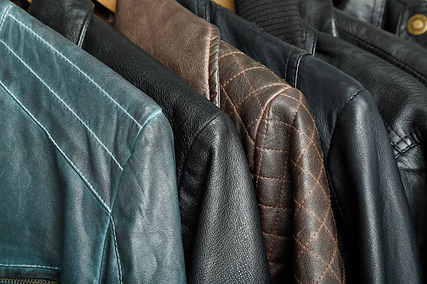 leather jacket variety of leather jackets closeup leather jacket stock pictures, royalty-free photos & images