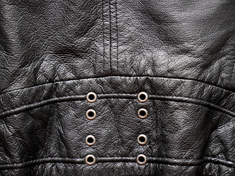 672414164 istock photo Leather jacket texture with eyelets 649430062