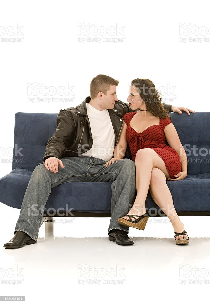 Marvelous Leather Jacketed Tough Guy And Retro Styled Woman On Couch Bralicious Painted Fabric Chair Ideas Braliciousco