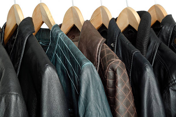 leather jackets collection of leather jackets on hangers leather jacket stock pictures, royalty-free photos & images