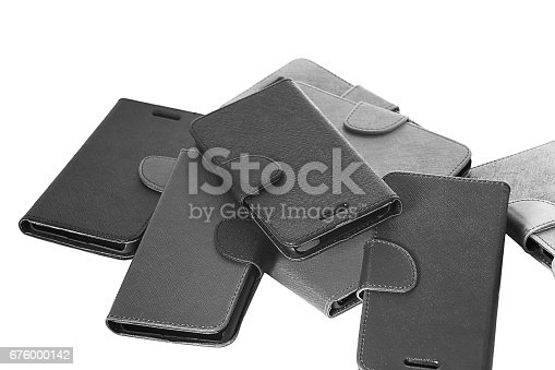 Leather mobile covers laying dawn on isolated on white background.