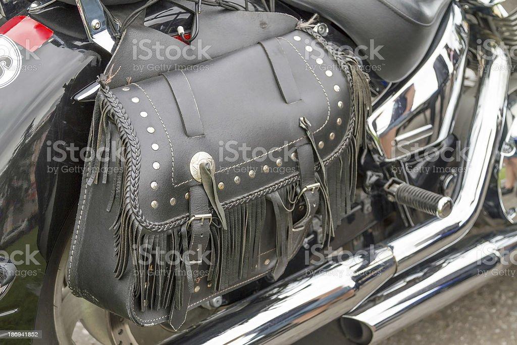 Motorcycle bolsa de cuero - foto de stock