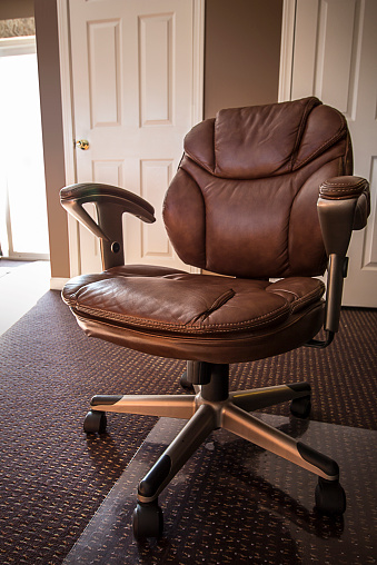 Leather Office Chair In Home Office Stock Photo Download Image Now Istock