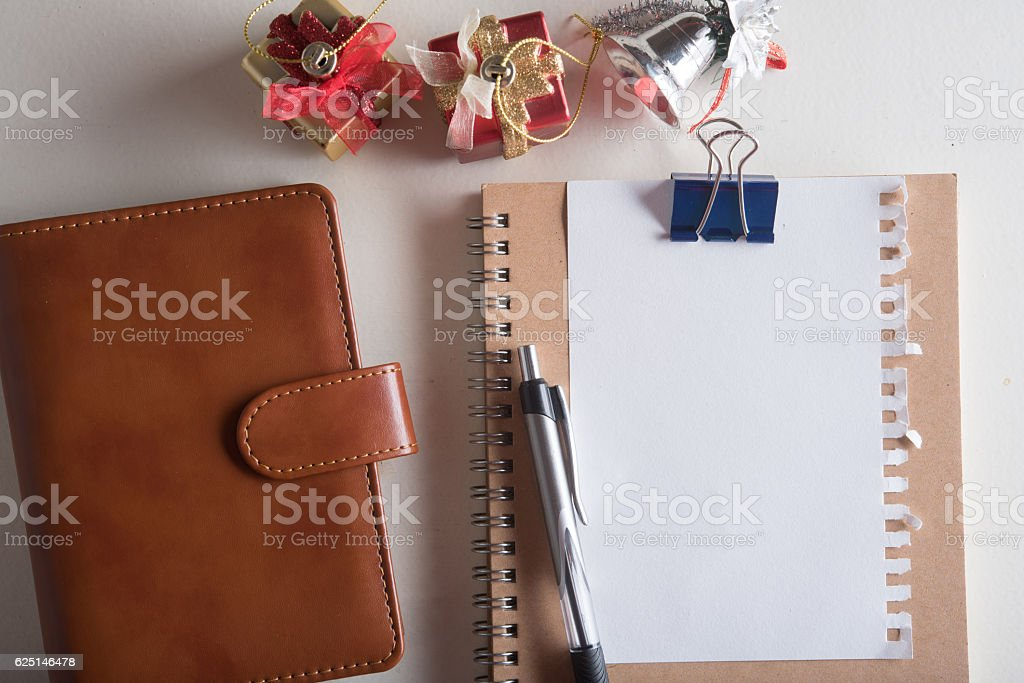 leather organizer book with note pad with blank page stock photo