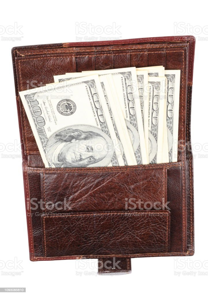 Leather Purse with dollars Isolated stock photo