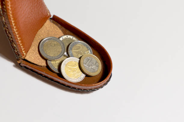 leather purse with pocket money coins stock photo