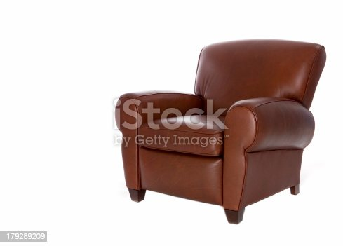 Modern, sleek leather recliner chair. Isolated on white background.