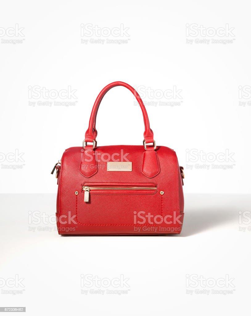 Leder rot Handtasche isoliert auf weißem Hintergrund – Foto