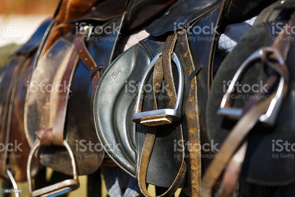 Leather saddle horse stock photo
