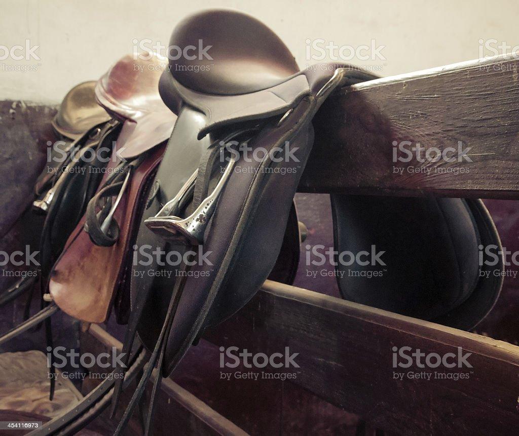 leather saddle horse, vintage retro style stock photo