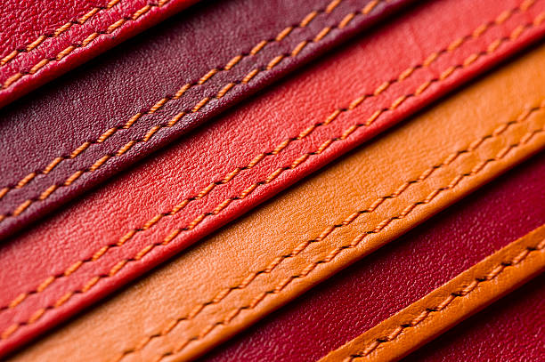 leather samples with stitches - seam stock photos and pictures