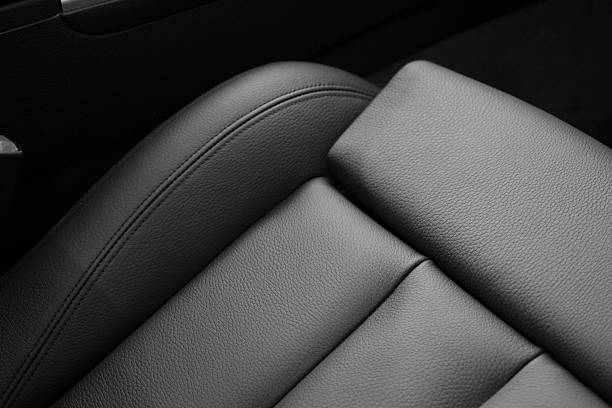 leather seats in car - auto innenansicht stock-fotos und bilder