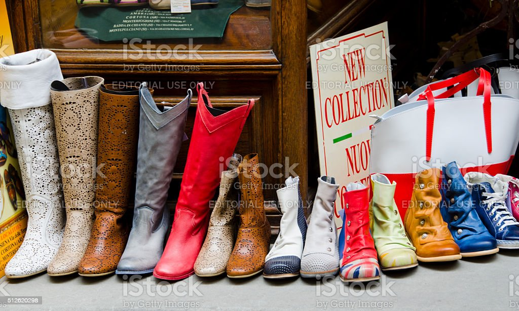 Leather Shoes and Boots in Cortona, Italy stock photo