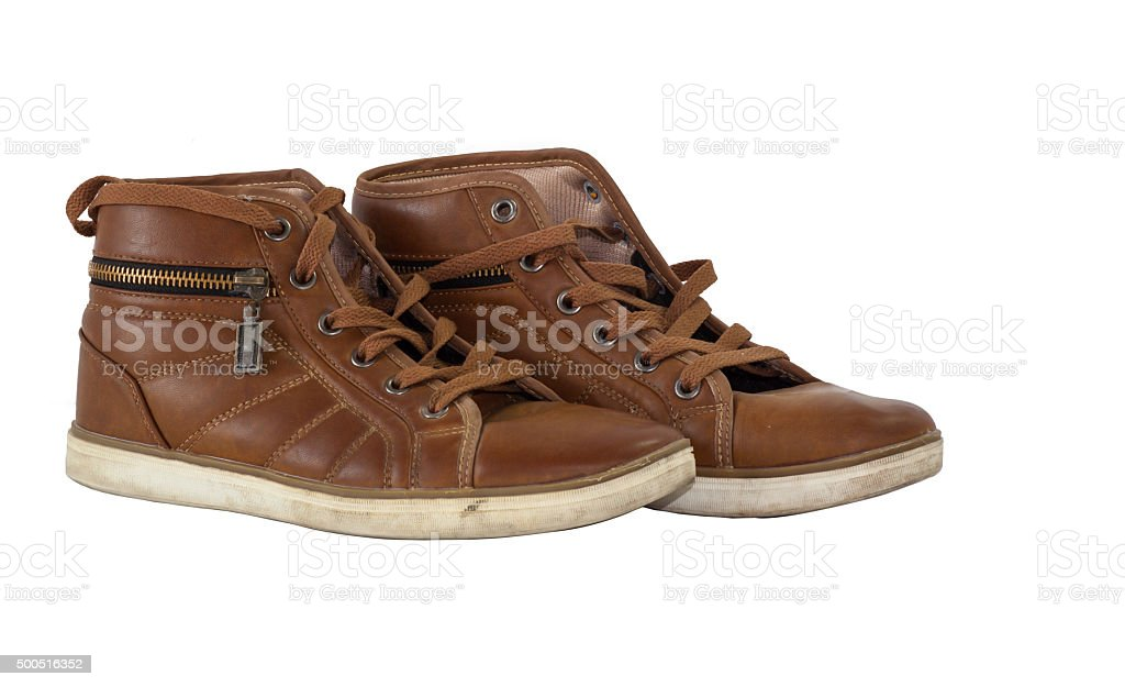 leather shoes isolate blackground for second hand stock photo