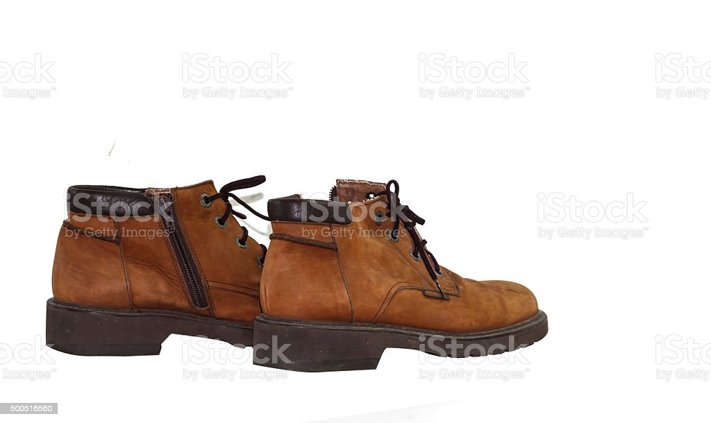 leather shoes isolate blackground for young girl stock photo