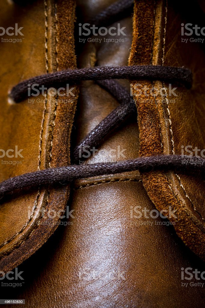 leather shoes lacing closeup stock photo