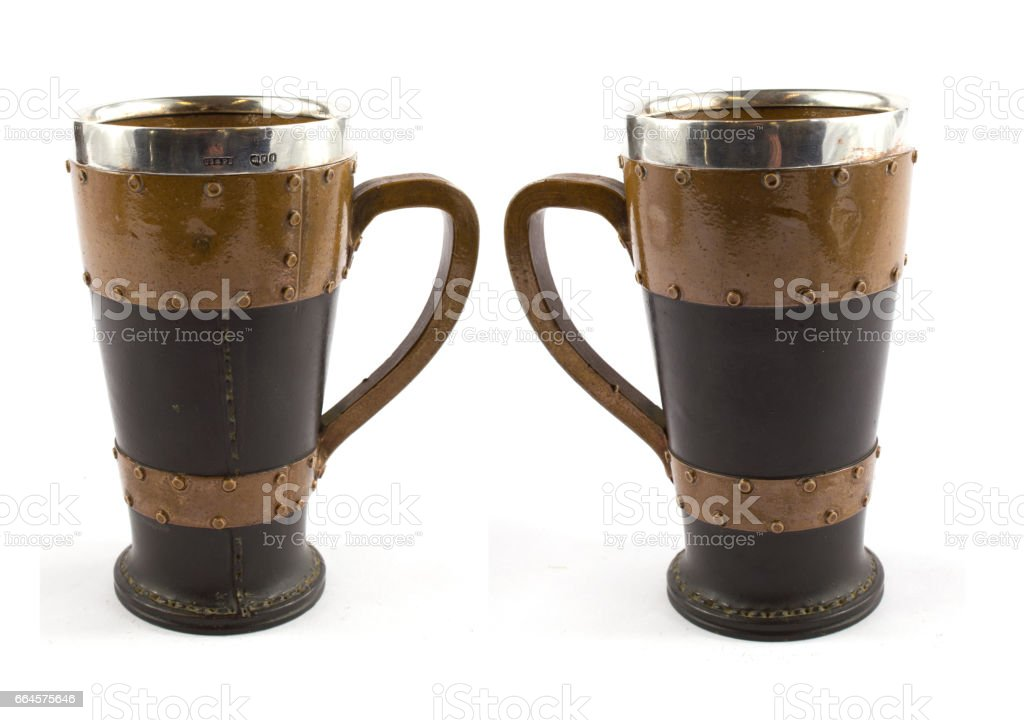 Leather, silver and wood goblet cup stock photo