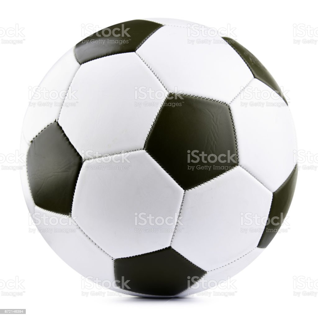 Leather soccer ball isolated on white background stock photo