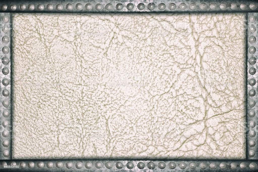 Leather sofa background with metal rivets frame stock photo