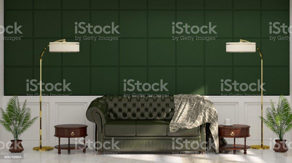 Ledersofa Vor Grün Weiß Wandleuchte Und Sideboard In Vintage Leeren Raum 3d  Rendering Luxus Wohnzimmer Moderne