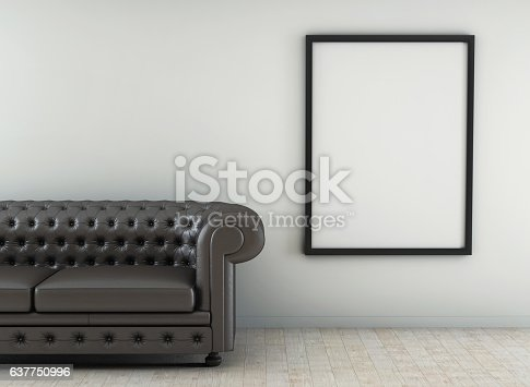 leather sofa in white room with wood floor. 3d rendering
