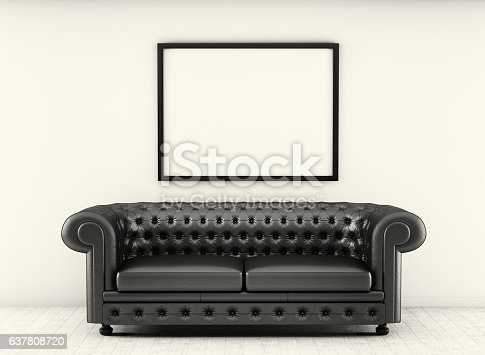 leather sofa in white room with wood floor. Monochrome. 3d rendering