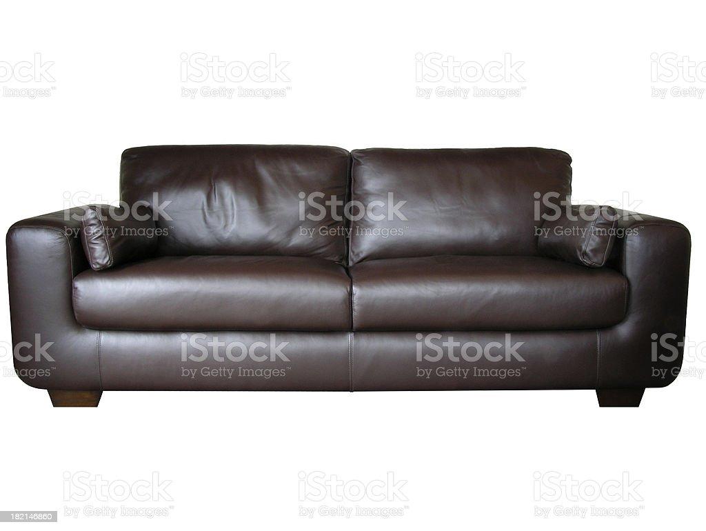 Leather sofa (isolated) stock photo