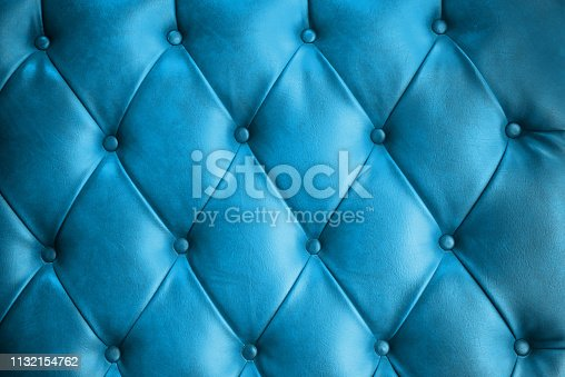 luxurious blue Leather sofa texture background