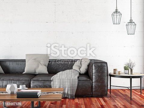 Waiting room concept with leather sofa and empty wall