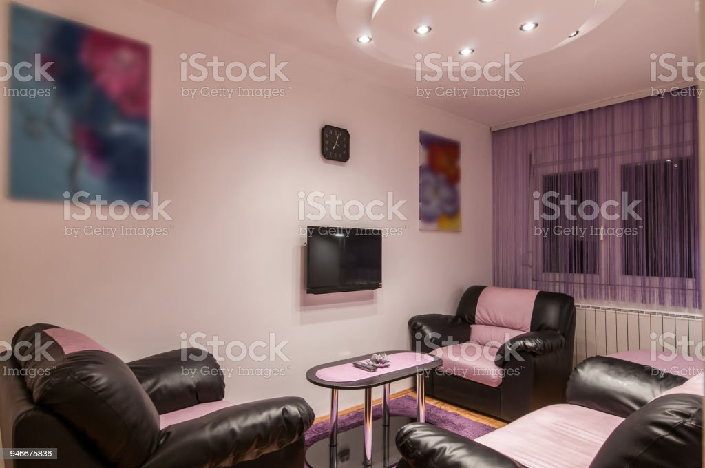 Leather Sofas In Modern Luxury Living Room Interior Stock ...