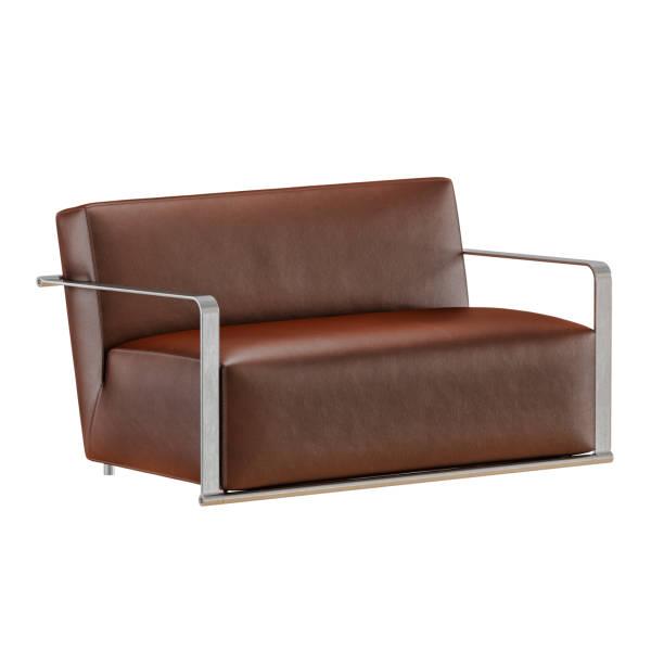 leder weiches braunes sofa mit falten auf weißem hintergrund 3d - gepolsterte bank stock-fotos und bilder