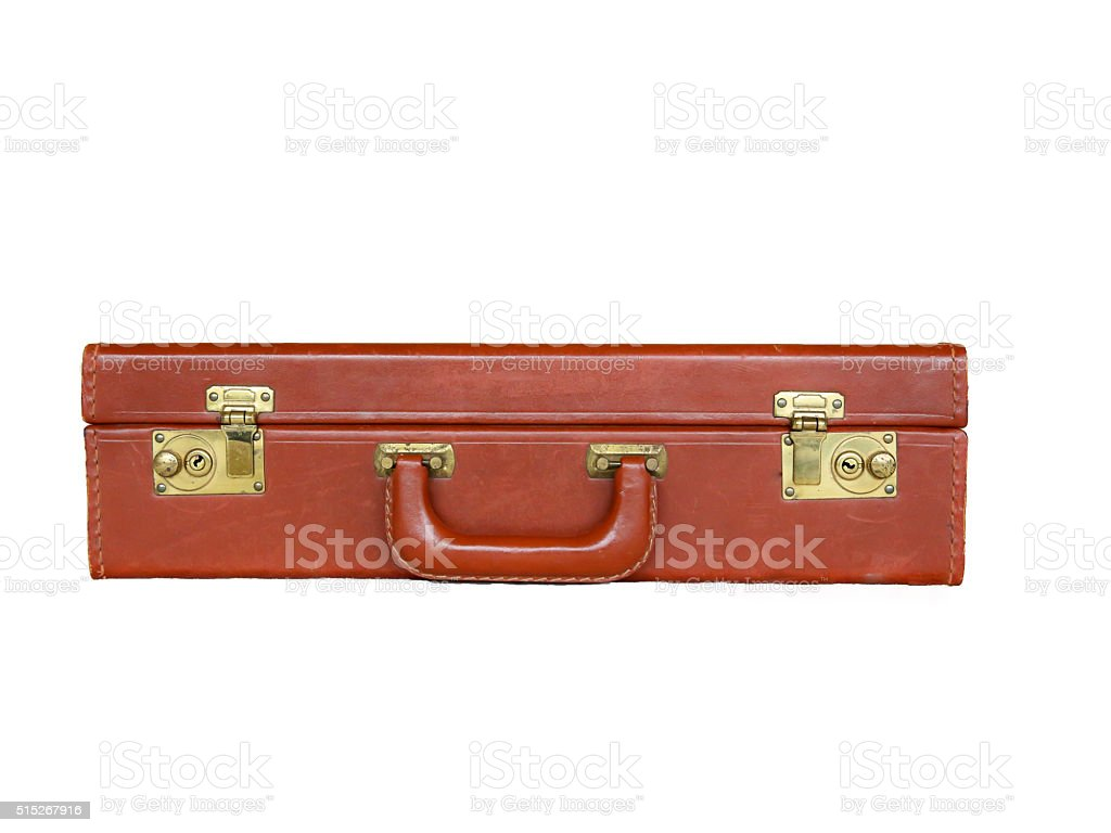 Leather Suitcase Brass Lock Isolated White stock photo