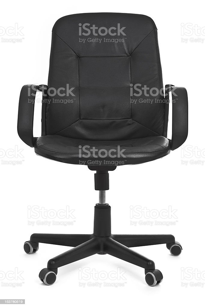 Leather swivel chair on a white background stock photo