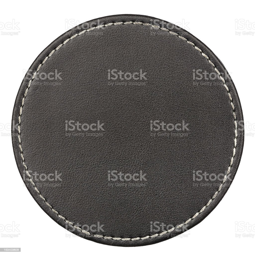 Leather table coaster stock photo