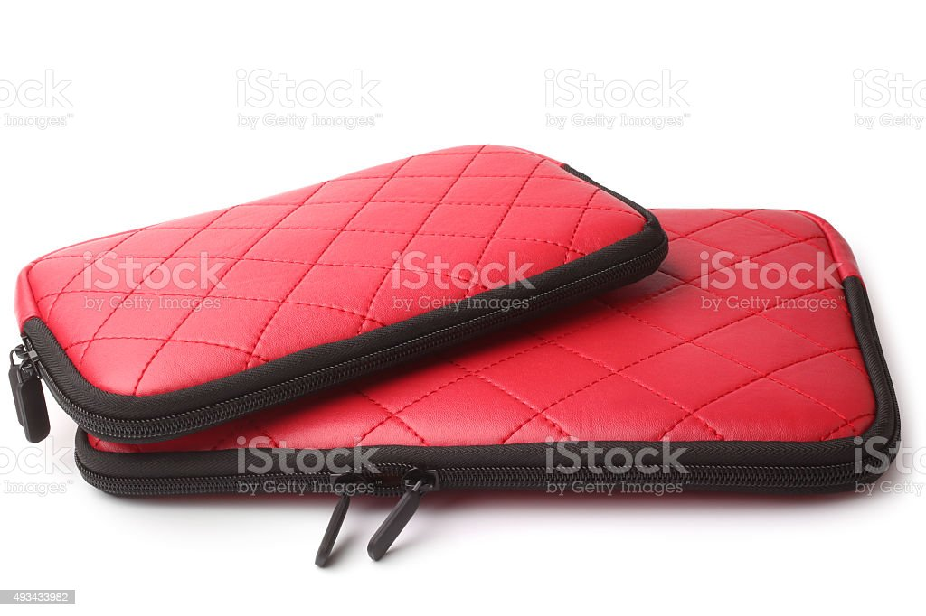 Leather tablet computer cases stock photo