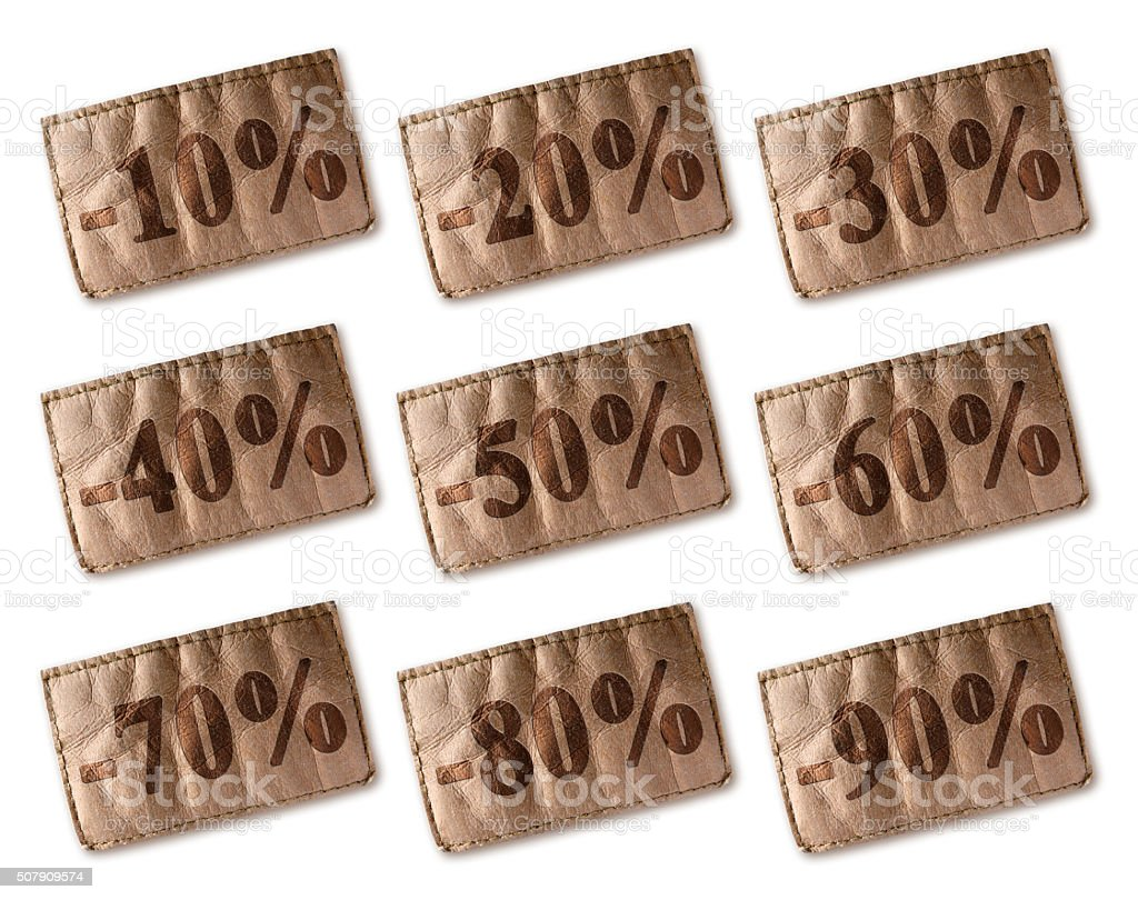 Leather tag with discounts set stock photo