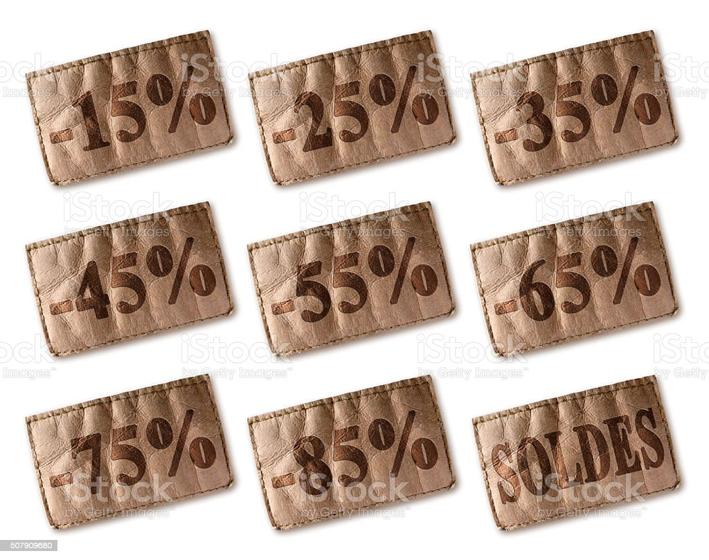 Leather tag with discounts soldes set stock photo