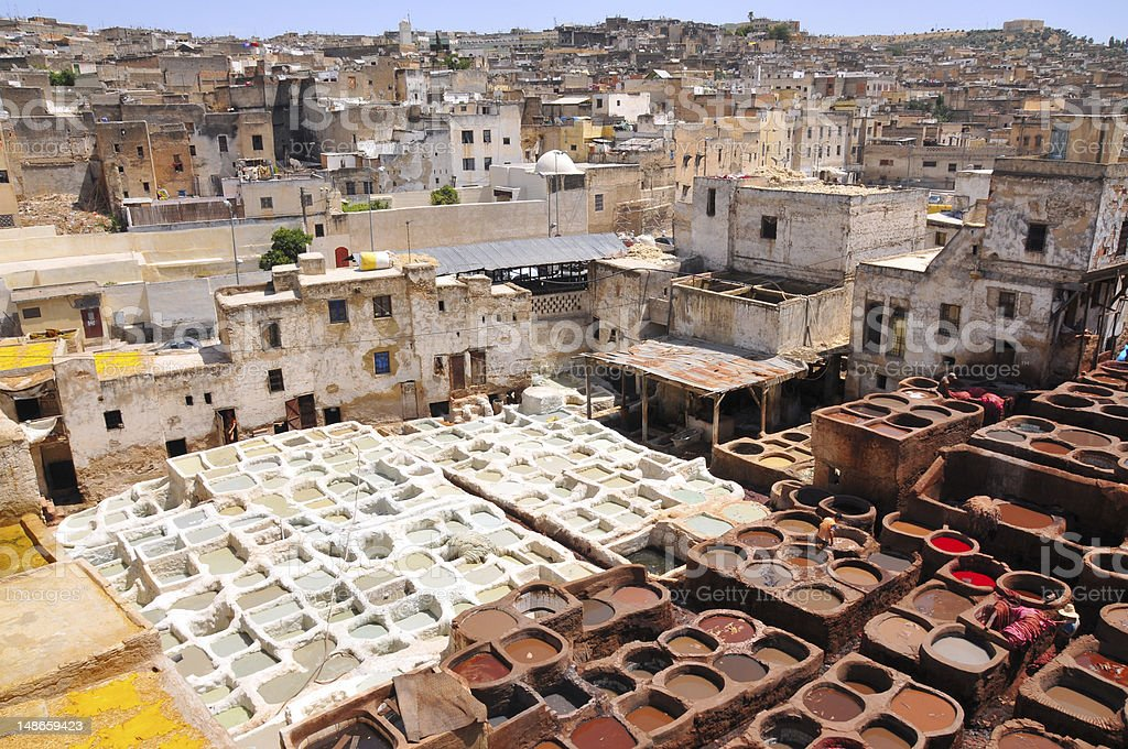 Very old technology leather tannery downtown Fez in Morocco