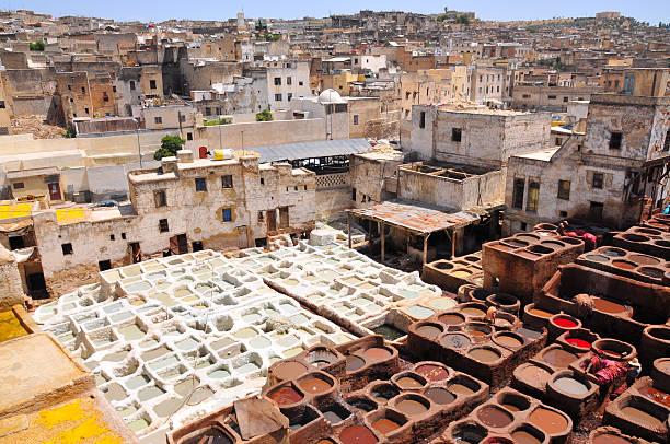 leather tannery in fez, morocco - kasbah bildbanksfoton och bilder