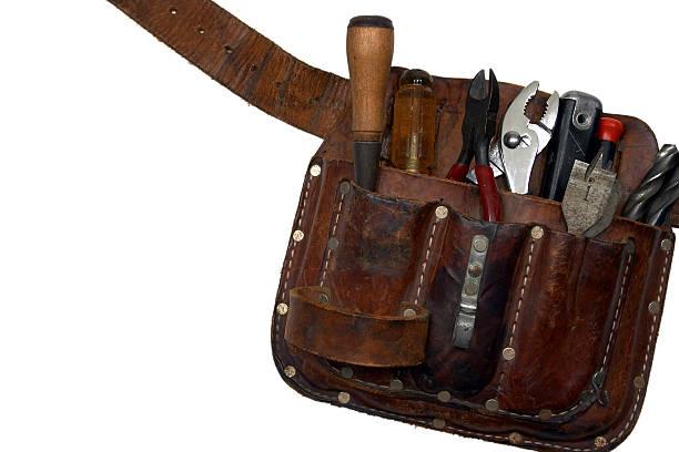 toolbelt aus leder - diy leder stock-fotos und bilder