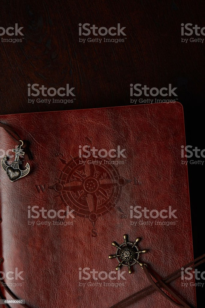 Leather travel diary stock photo