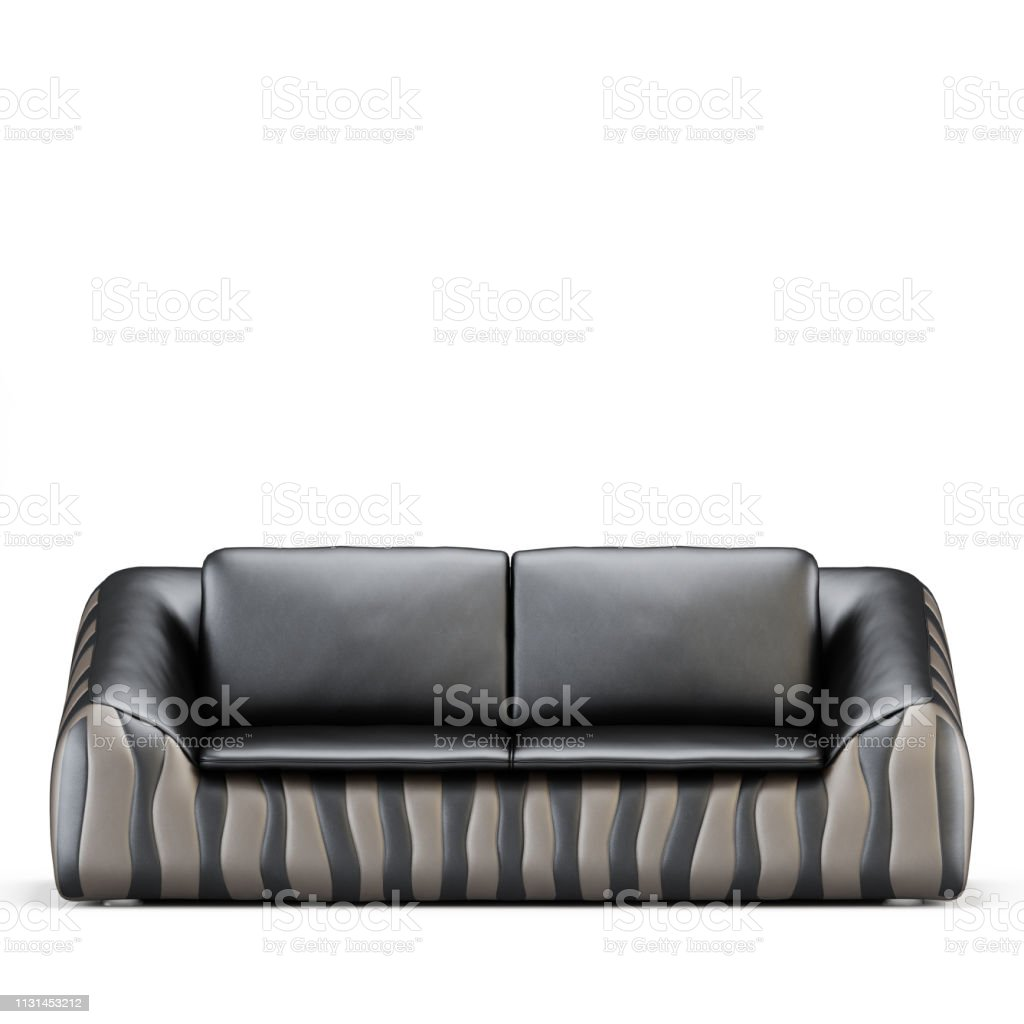 Leather Twoseater Sofa On A White Background Front View 3d