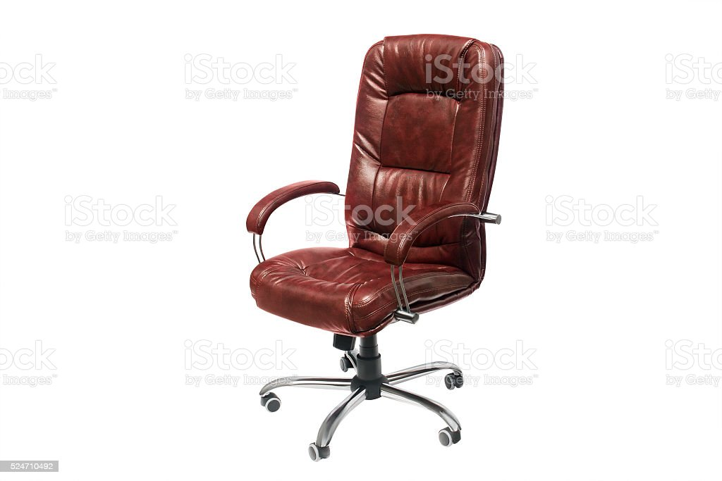 leather upholstered office chair of claret color with trundles stock photo